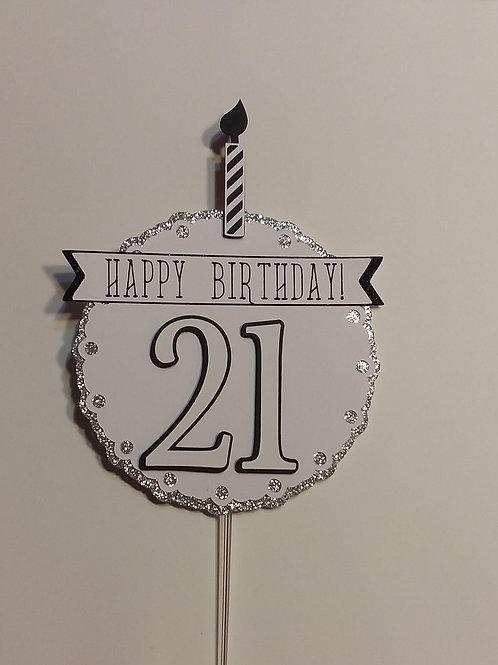"Black and White ""21"" Cake Topper"