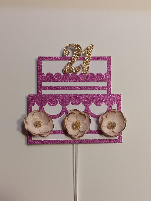 "Pink and Gold ""21"" Cake Topper"
