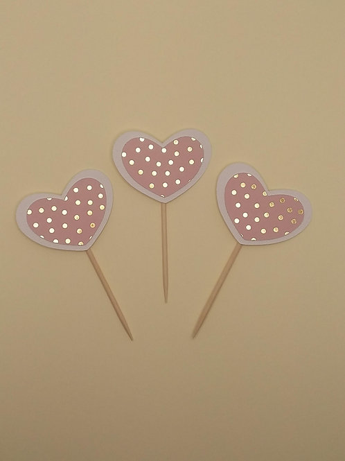 Polka Dot Heart Cupcake Toppers