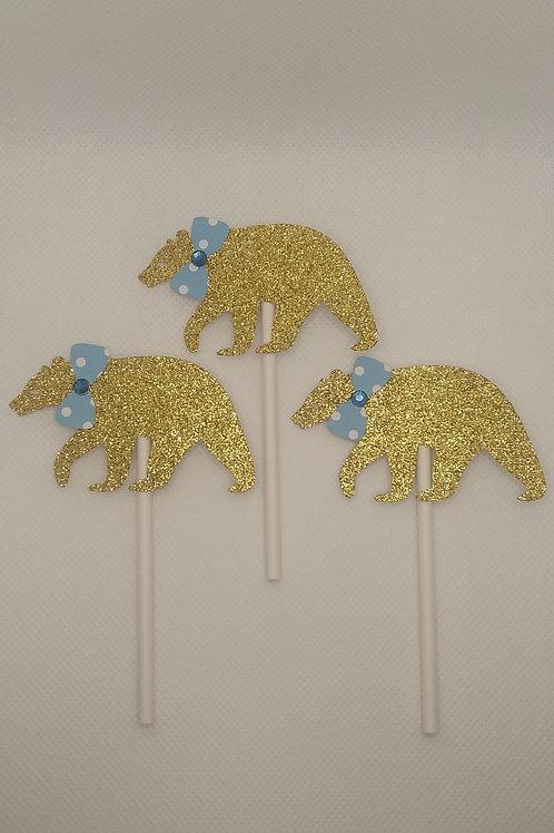 Gold Bears w/ Polka Bow Ties