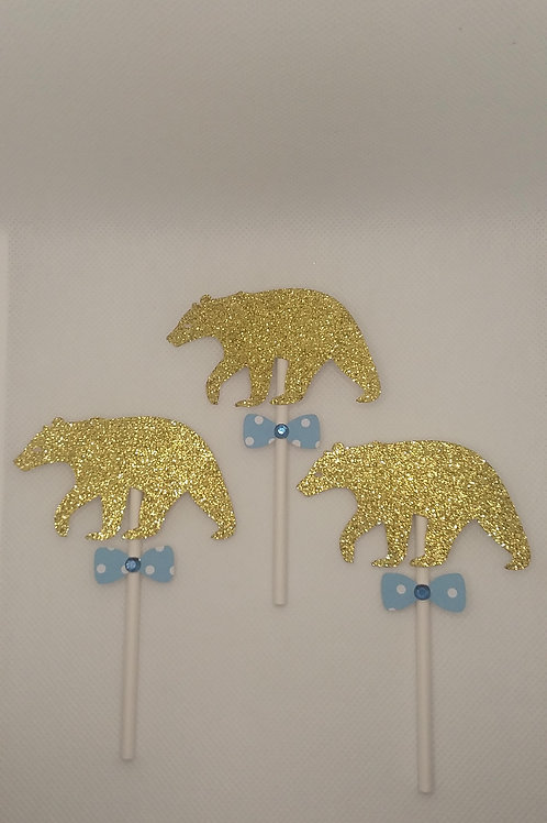 Gold Bears w/ Polka Dot Bow Ties on Stick