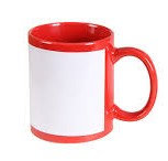 TAZA DE COLOR ROJO CON BASE BLANCA