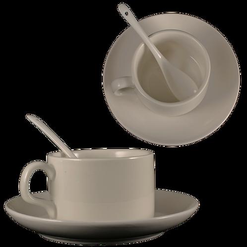 TAZA CAFE CON PLATO Y CHUCHARITA BLANCA