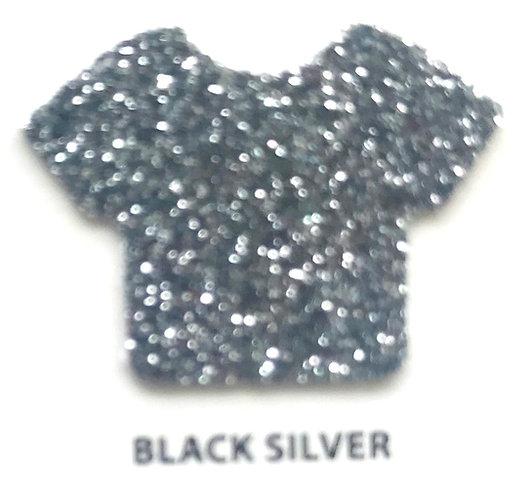 """VINIL TERMICO GLITTER  BLACK SILVER 20"""""""