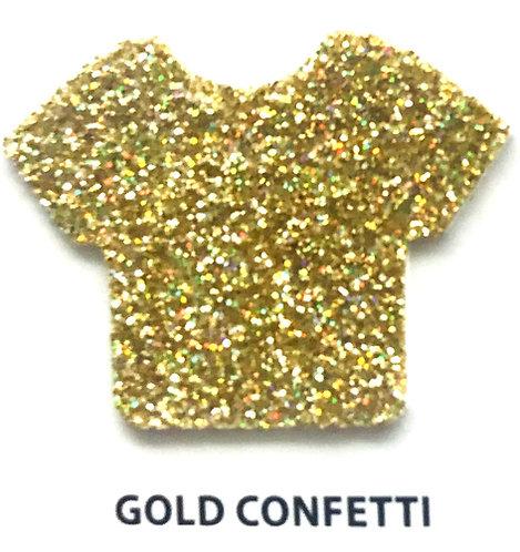 """VINIL TERMICO GLITTER GOLD CONFETTI 12"""""""