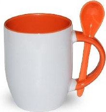 TAZA CON CHUCHARITA NARANJA COLOR INTERNO
