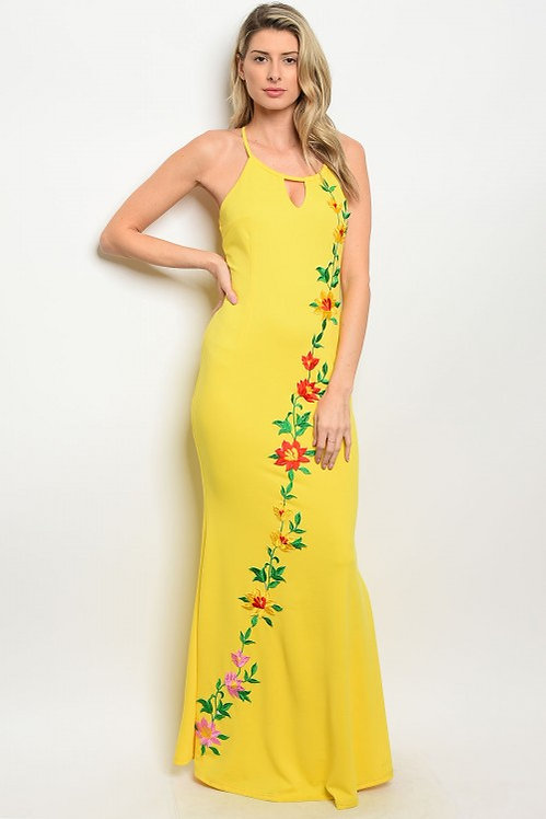 07088 YELLOW WITH FLOWER PRINT DRESS