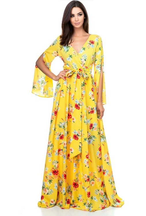 106074 Floral print maxi dress with lining and front tie.