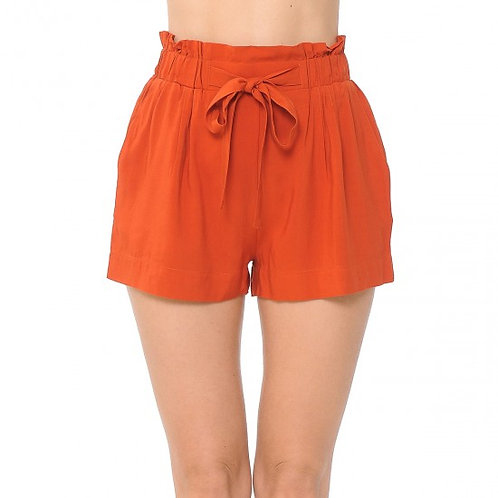 70402-TIE-FRONT HIGH PAPERBAG WAIST WOVEN PULL-ON SHORTS