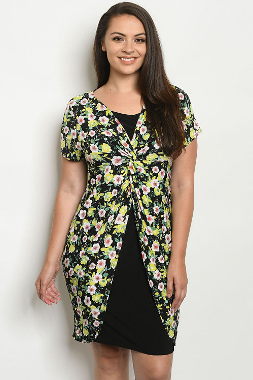 8115X BLACK GREEN FLORAL PLUS SIZE DRESS