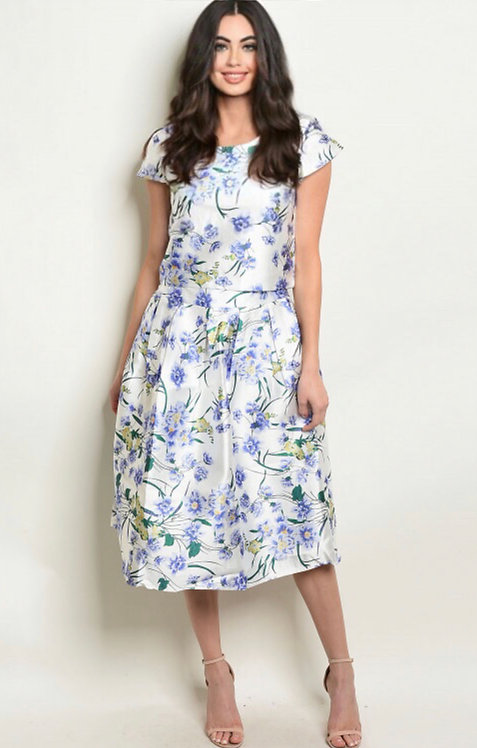 8006 WHITE FLORAL TOP & SKIRT SET