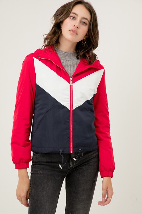 8073 Color Block Zip Up Hooded Windbreaker Padding