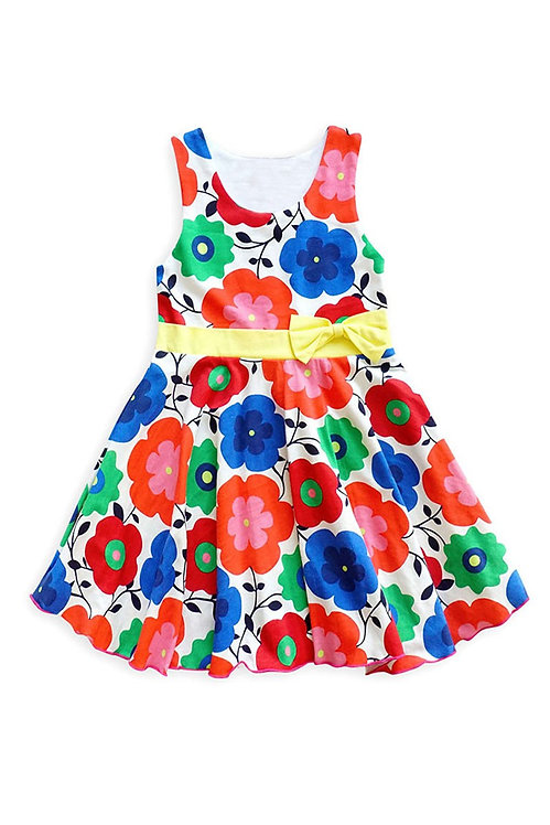 3721-23 Floral Spring Dress with Bowknot Waistband