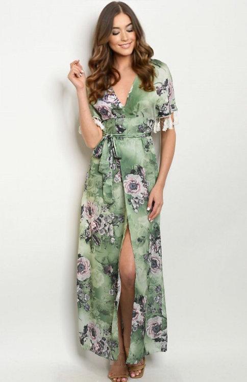 60586 GREEN W/ FLOWERS PRINT DRESS