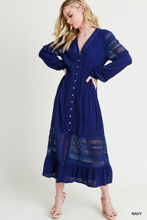 3547 Button-Up Laced Midi Dress