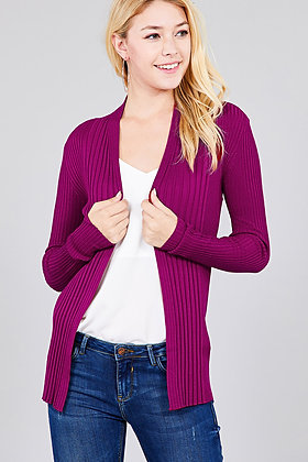2671 LONG SLEEVE OPEN FRONT RIBBED KNIT SWEATER CARDIGAN