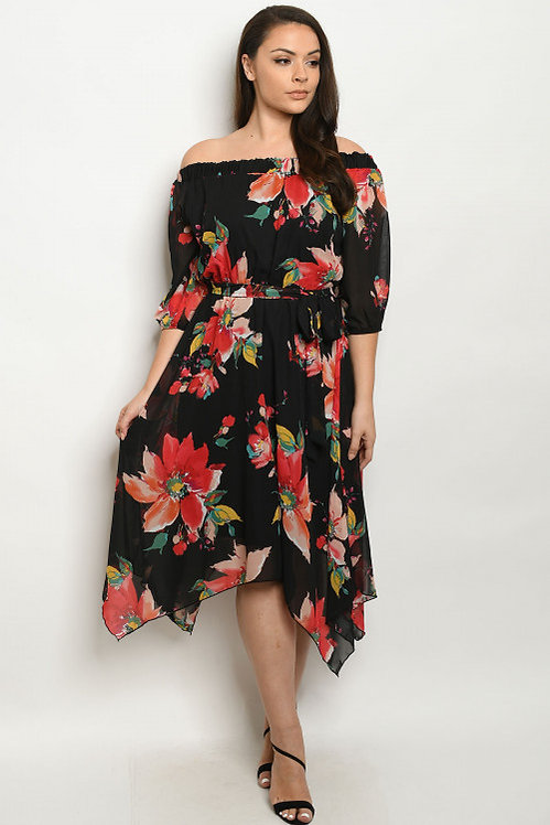 2393X BLACK FLOWER PRINT PLUS SIZE DRESS