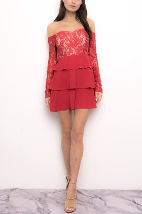 1096 RED NUDE DRESS