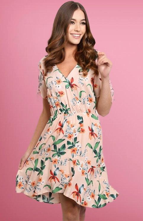 3082 PEACH WITH FLOWER DRESS