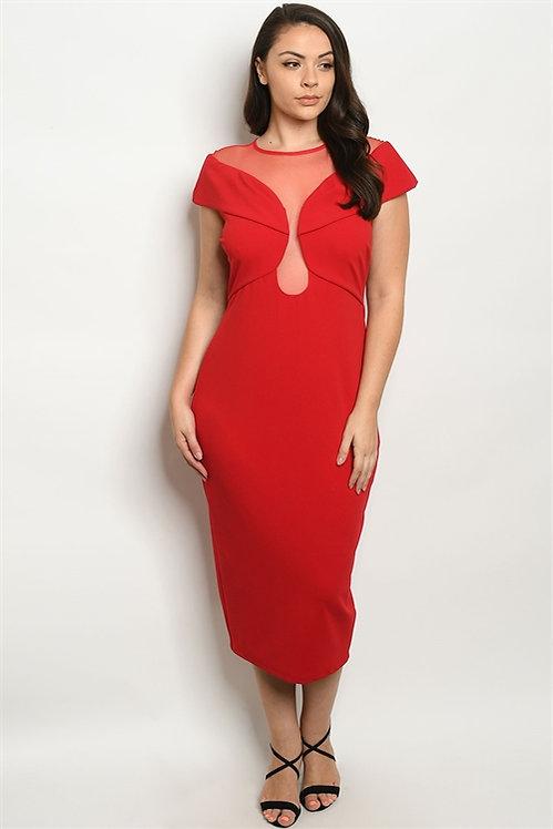 6421X RED PLUS SIZE DRESS