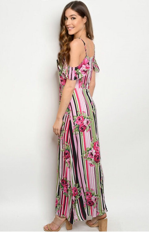 019 FUCHSIA STRIPES W/ FLOWERS DRESS