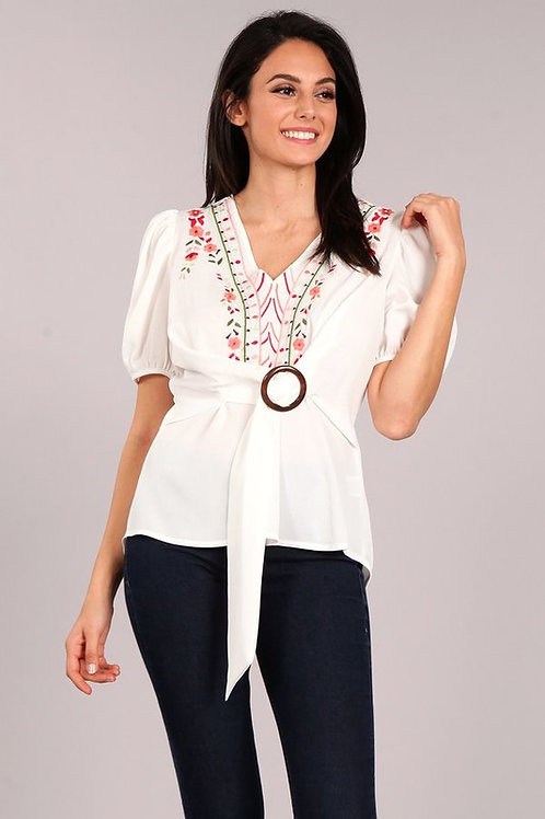 49312 Solid top with a v-neckline
