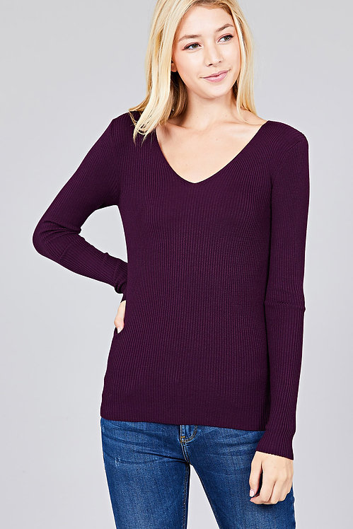 2668 LONG SLEEVE V-NECK FITTED RIB SWEATER TOP