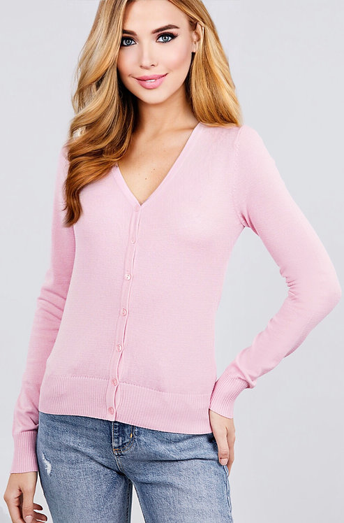 11068 LONG SLEEVE V-NECK BUTTON DOWN SWEATER CARDIGAN
