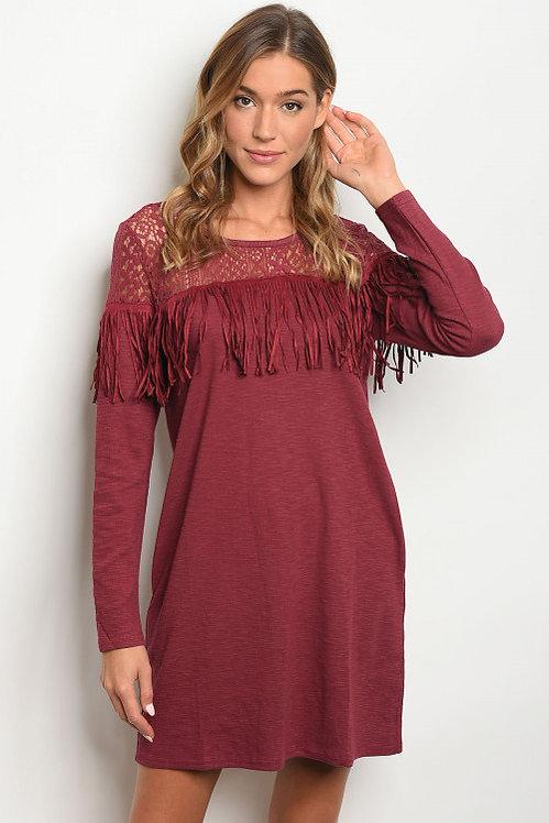 6179 BURGUNDY DRESS