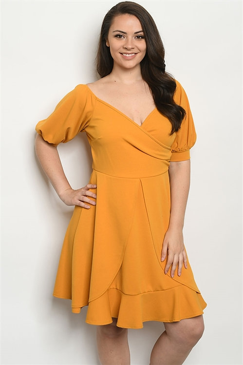 969X MUSTARD PLUS SIZE DRESS
