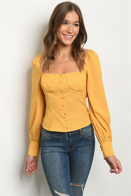 0524 MUSTARD STRIPES TOP