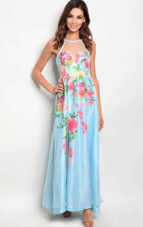 06252 BLUE FLORAL DRESS