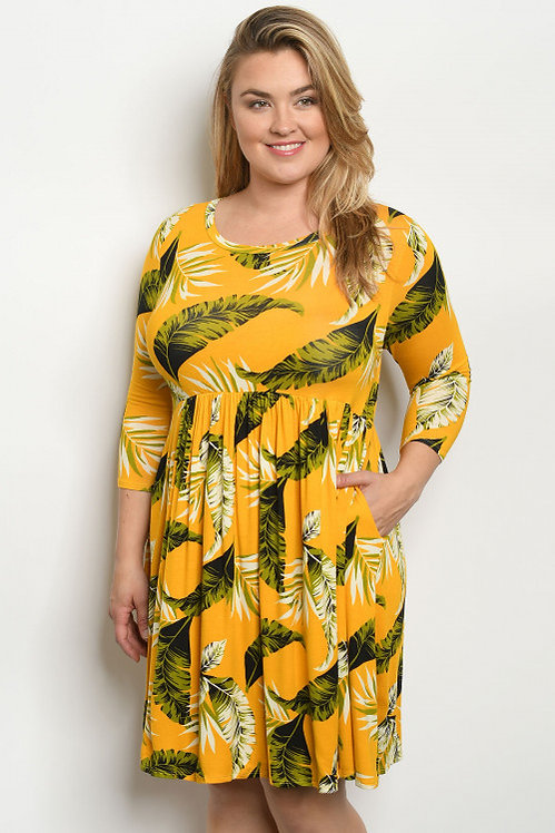 3123X MUSTARD WITH LEAVES PRINT PLUS SIZE DRESS