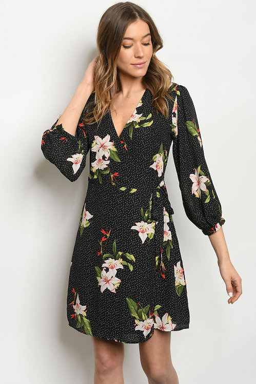 7059 BLACK WITH FLOWER DRESS