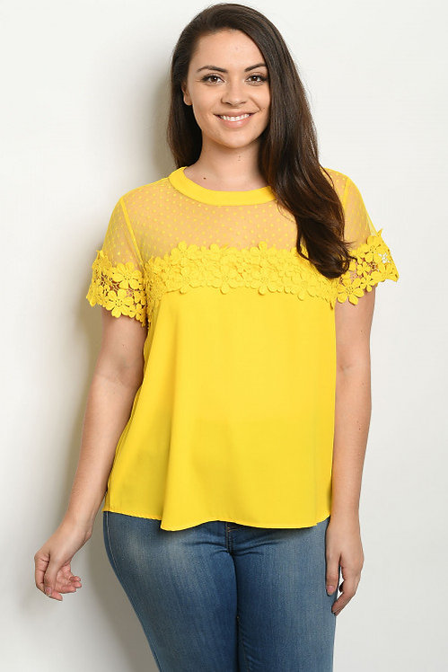 38839X YELLOW PLUS SIZE TOP
