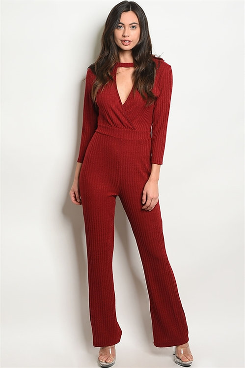 38677 BURGUNDY JUMPSUIT
