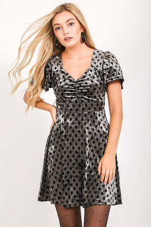 42496 suede Polka dot dress