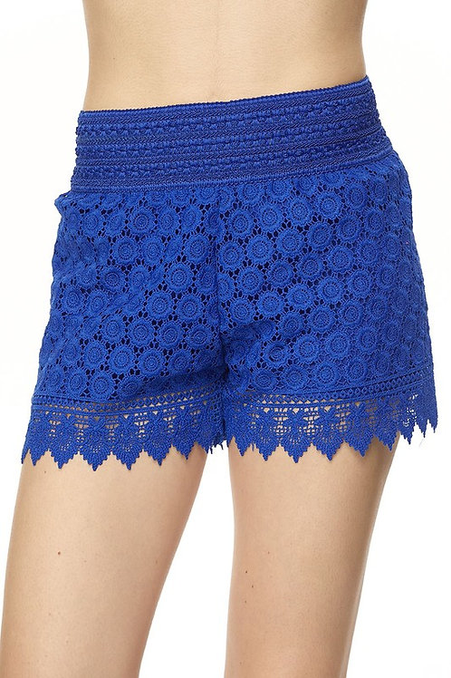 SH05 Floral Lace Crochet Banded Shorts