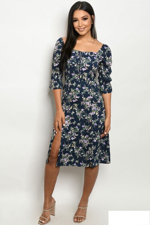 0047 NAVY FLORAL DRESS