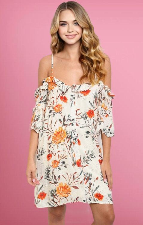 2425 IVORY W/ FLOWERS PRINT DRESS