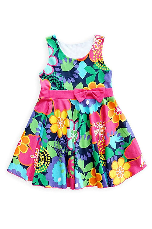 3721-21 Floral Spring Dress with Bowknot Waistband