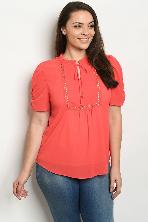 81247X CORAL PLUS SIZE TOP