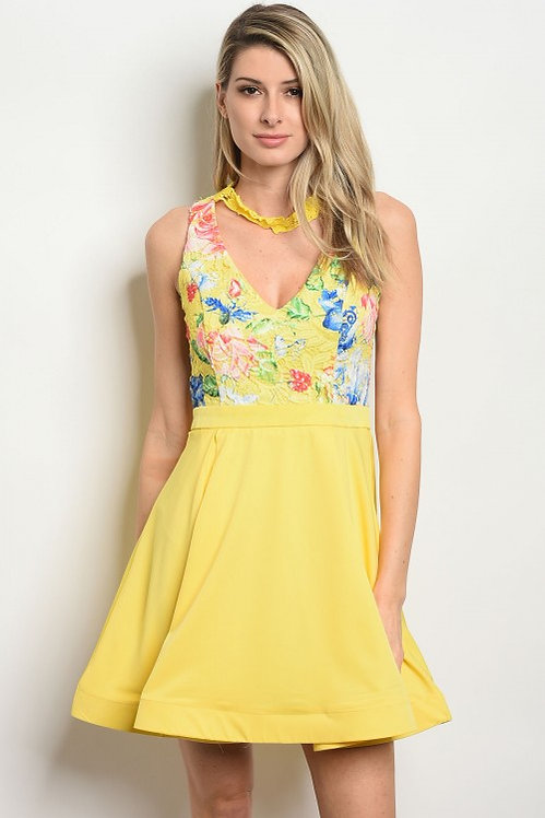 06728 YELLOW WITH FLOWER PRINT DRESS