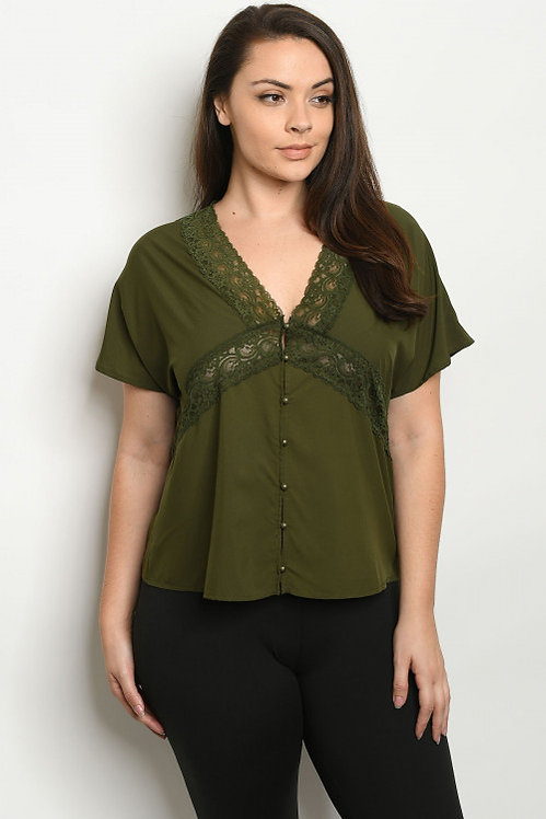 10661X OLIVE PLUS SIZE TOP