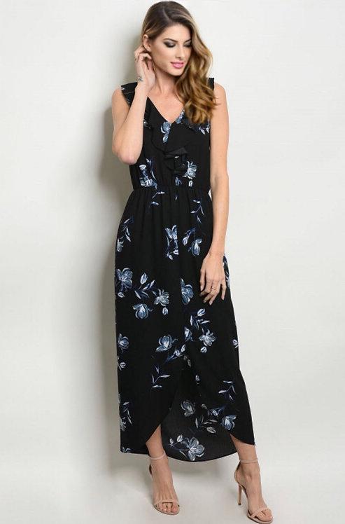 9132 BLACK FLORAL DRESS