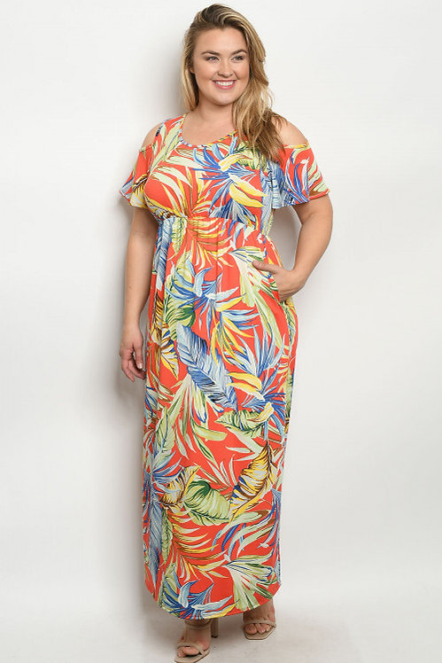 3143X CORAL MULTI WITH LEAVES PLUS SIZE DRESS