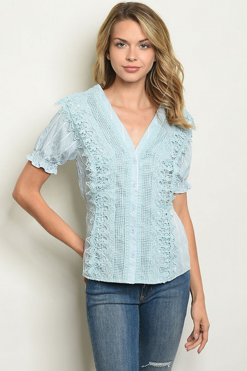 20494 BLUE STRIPES CROCHET TOP