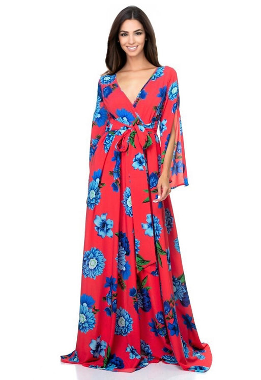 106076 Floral print maxi dress with lining and front tie.
