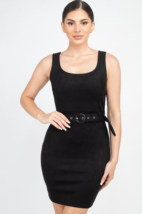 12231 Sleeveless Belted Mini Dress