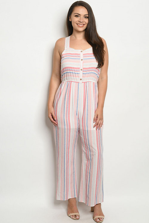 59635X PINK LAVENDER STRIPES PLUS SIZE JUMPSUIT